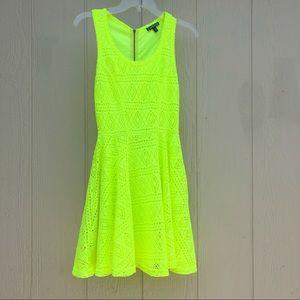 Express | Neon yellow lace dress